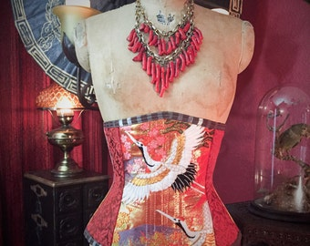 SALE Japanese Kimono Crane Corset made from Rare Wedding Obi Silk by Louise Black Ready to Ship size Medium 25 Inch