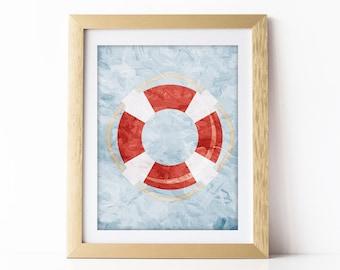 Nautical Nursery Art Print Blue and Red Nursery Wall Art Nautical Theme Baby Room Nautical Decor Nautical Digital Download 8x10