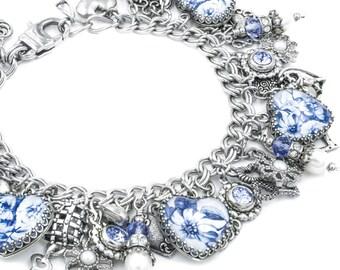 Blue Willow, Charm Bracelet, Heart Bracelet, Blue Broken Plate Image, Broken China Image, China Hearts