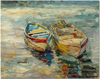 Harbored Row Boat - Signed Hand Painted Palette Knife Abstract Oil Painting On Canvas