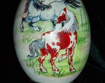Hand Painted Horses On Goose Egg Shell/ Egg Shell Art/ Egg Art