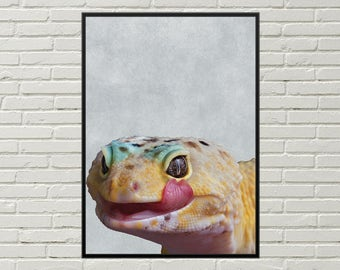 LEOPARD GECKO print for nursery, gecko picture, leopard gecko poster, printable poster, housewarming gift, nursery decor gecko digital print