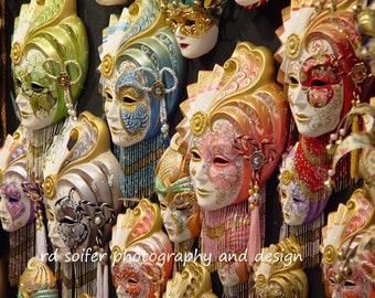 Venice Mask Photograph, Venice Photography, Venice Masks, Masquerade Mask, Venice Carnival Mask, Italy Photo, Masquerade Art,