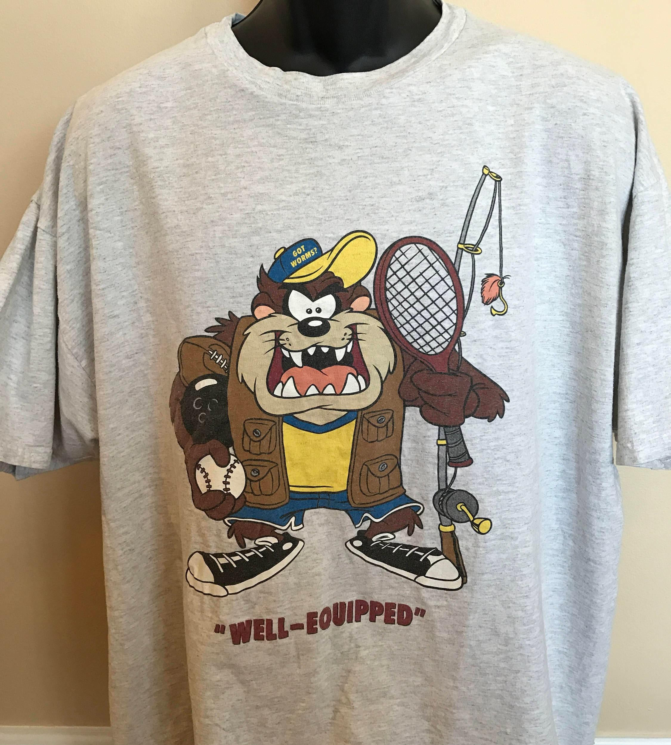 90s Taz Sports Shirt Vintage Tee Tasmanian Devil Baseball # Taz Muebles De Oficina