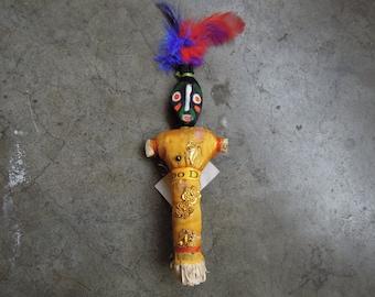 Vintage Handmade VooDoo Doll Feathers Beautiful