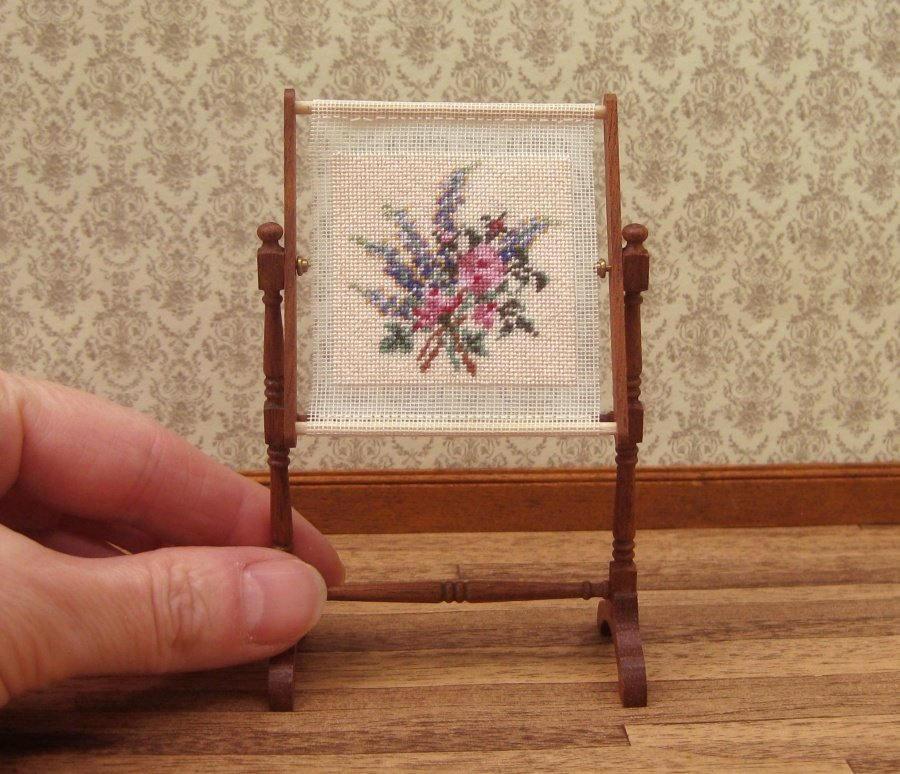 1:12 needlepoint kit, Needlework stand, 1/12 tapestry frame ...