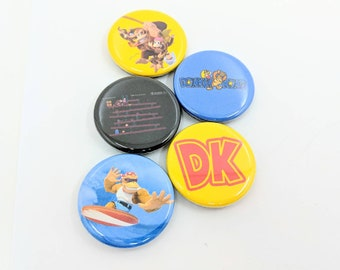 """5 Pack 1.25"""" Donkey Kong Buttons or Magnets - Featuring: DK, The Kong Family, OG Donkey Kong (Screen and Logo) and Funky Kong"""