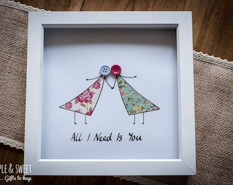 All I Need is You Button Couple Picture 20x20 cm