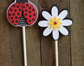 Ladybug Cupcake Toppers, Flower Cupcake Toppers, Doodlebug Cupcake Toppers (Set of 12)