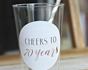 70th BIRTHDAY DECORATIONS. Party Cups Beer Cups Wine Glass Rose Gold Silver Blush Pink Ladies BirthdayMilestone Birthday Party Decor & 70th BIRTHDAY DECORATIONS. Wine Labels Cheers to 70 Years