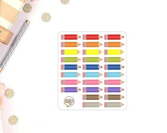 Rainbow Pencil Planner Stickers