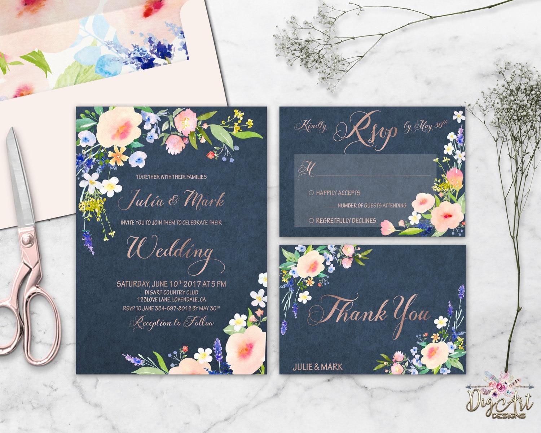 Navy Wedding Invites: Floral Wedding Invitation Printable Navy Blush Wedding Suite