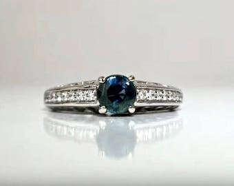 1.14 ctw Sapphire & Diamond Engagement Ring in 14K White Gold / Natural Greenish - Blue Sapphire / See Video / De Luna Gems / Free Shipping!