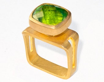 Ring with Peridot, Size 8