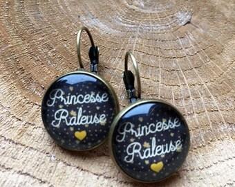 """Princess complainer"" bronze cabochon earrings"