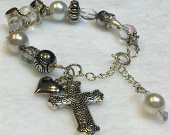 Silver Cross and Pearl Bracelet