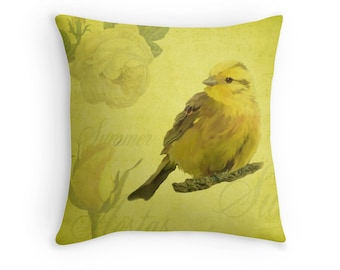 Yellow Vintage Style Bird Throw Pillow, Summer Scatter Cushion, 16x16 18x18 20x20, Gardener Gift