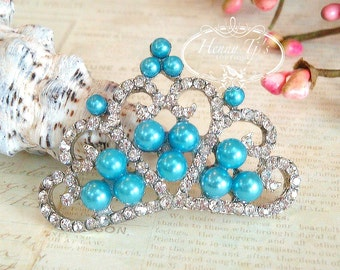 4 pcs TURQUOISE BLUE Pearls Stunning Tiara Crowned Princess crystal Rhinestone Buttons, Crystal Tiara Bow Embellishment