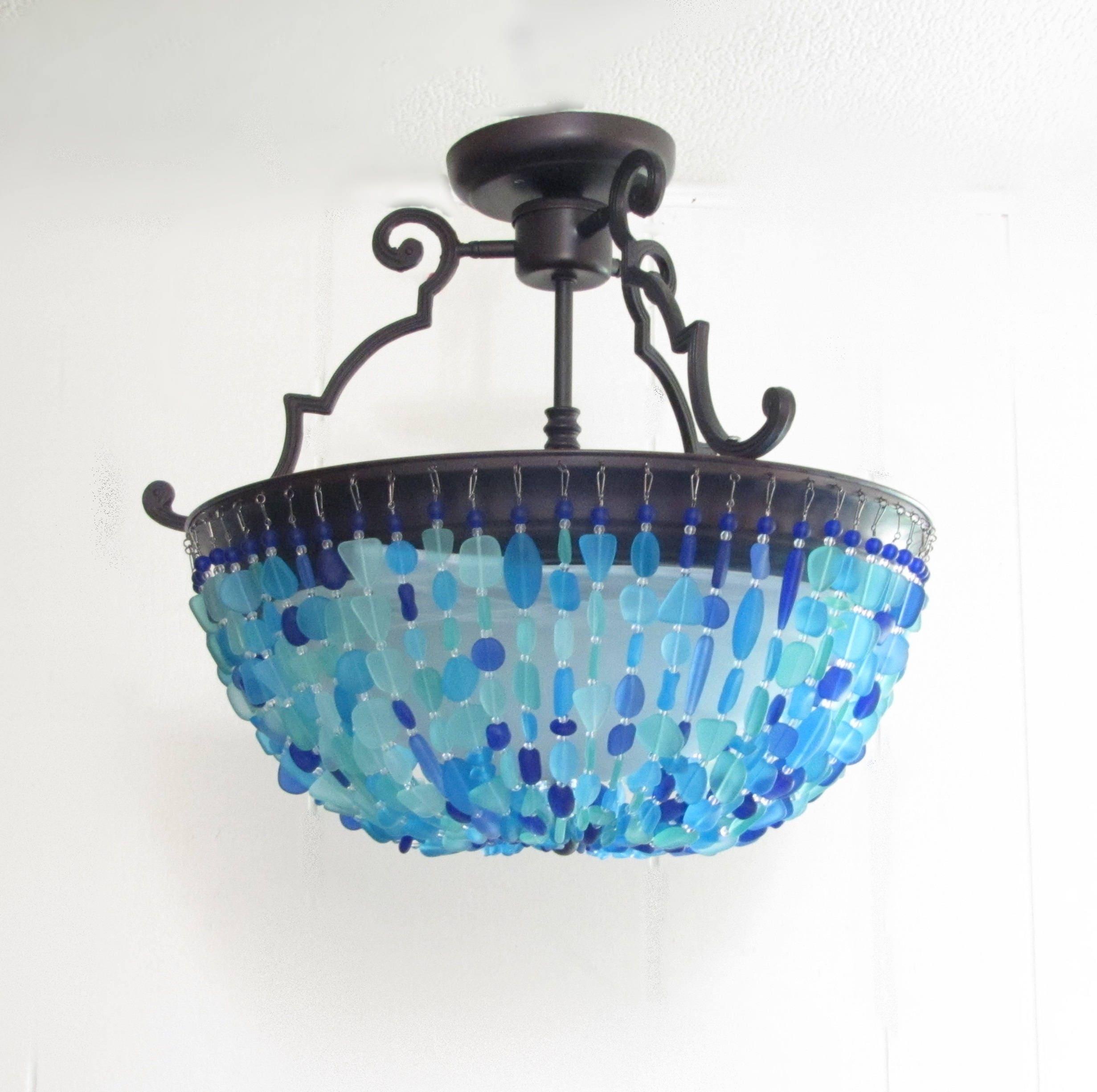 Sea glass chandelier lighting fixture beach glass ceiling zoom arubaitofo Choice Image