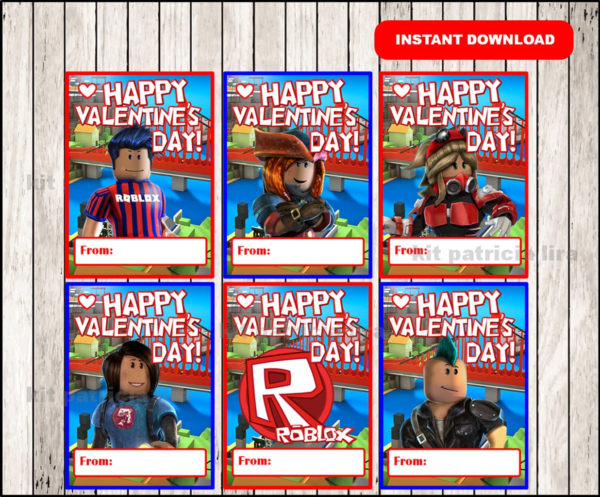 roblox valentine u0026 39 s day cards instant download printable