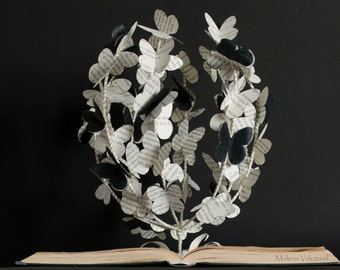 The Tree of Butterflies - Book Art - Book Sculpture - Altered Book - Made to Order