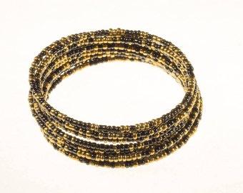 Black and Gold Twirl Bracelet