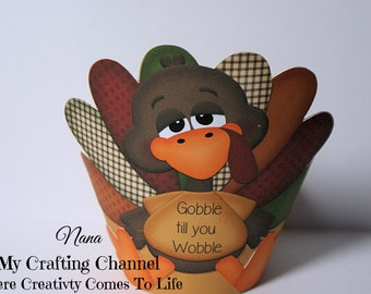 Set of 12,Thanksgiving Cupcake Wrapper,Turkey Cupcake Wrapper,Holiday Cupcake Wrapper,Holiday,Thanksgiving