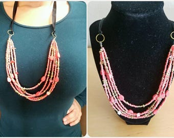 30 in. coral, multi strand necklace
