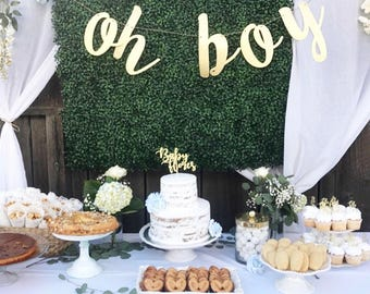 Glitter 'oh boy' Banner for Baby Shower or Gender Reveal Party