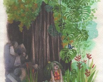 Flutter-By / Fairy Art / Faerie / Fantasy Art / Miniature Original / Tiny Art / Storybook / Art for Children / Tropical Forest  / Butterfly