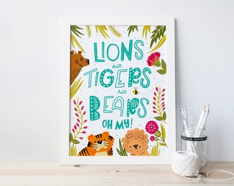 "Printable ""Lions, Tiger, & Bears!"" Hand Lettered Print 8x10 - Instant Downloadable PDF"