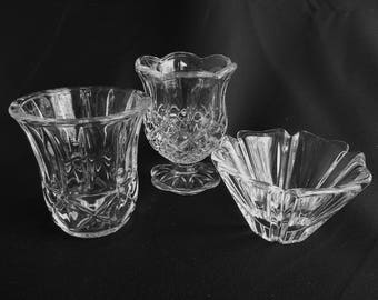 Beautiful Vintage Clear Glass Crystal Tealight or Votive Candle Holder Set of 3, Mixed Patterns, also Toothpick or Sugar holder (1547)