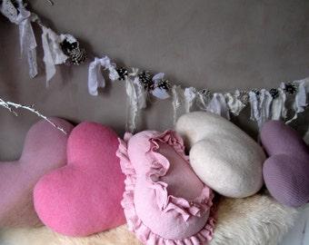 Valentines day gift Heart pillows Pink throw pillows Pink heart sweater pillows Winter pillows Girls room decor Girl Nursery Floor pillows