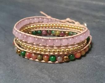 3 rounds - hematite rose quartz gemstone and leather wrap bracelet