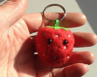 Strawberry Needle  Felted keyring / keychain / bag charm handmade from British Shetland wool and Merino wool