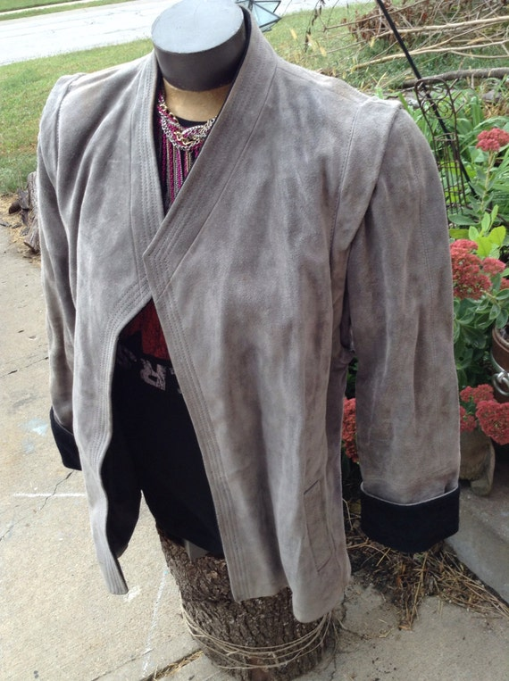 Vintage hipster 80's Together! army green duster coat with leather trim size large free domestic shipping oVanZa33j