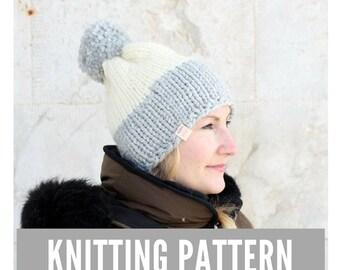 Knitting Pattern / Chunky knit hat with pom pom / Winter hat pattern / Easy hat knitting pattern / Ski hat / Slouchy knit hat