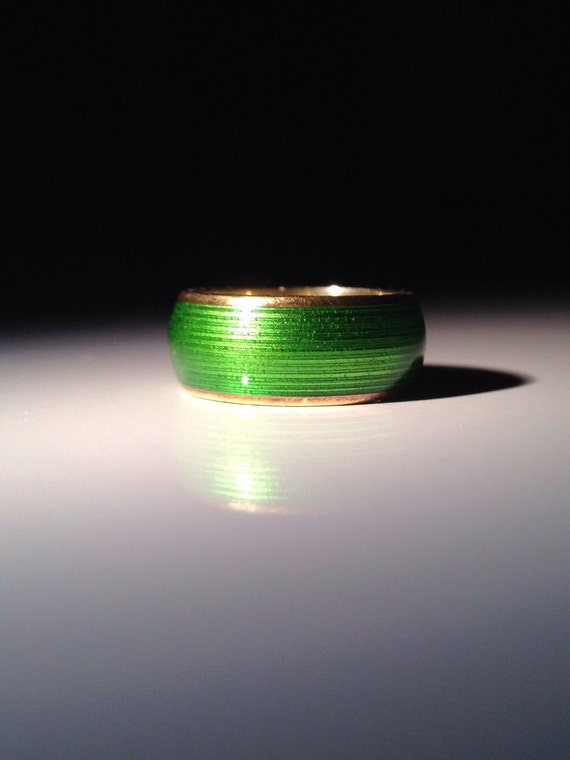 Tiffany & Co. 18K Gold Green Enamel Ring 750 Gold Size 5.25 ca. 1970