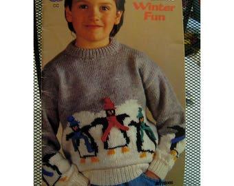 Childrens' Winter Theme Sweater Pattern, Knitting, Penguins, Snowmen,Skating Bears, Snow Bunnies, Patons Winter Fun No. 693