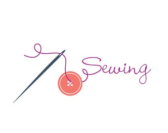 Sewing logo pre-made featuring a button and a needle and thread.