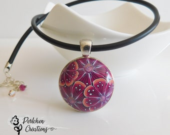 Chain pendant with flowered cabochon Bordeaux and orange from polymer clay on Buna cord, Boho style