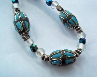 Stone-in-stone Lampwork Bead Necklace