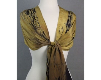 Long Silk Scarf Hand Dyed Shibori Gold Ombre Black Ancient Relic Collection Made to Order