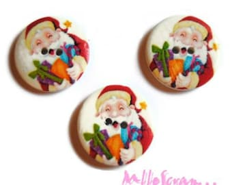 Set of 3 large buttons decorated Christmas 30 mm scrapbooking embellishment 3 *.