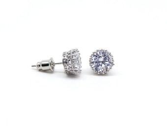 Round Stud Earrings - Cubic Zirconia