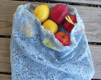 Upcycled Produce Bag / Zero Waste / Reusable Produce Bag / Reusable Bag / Produce Bag / Blue Lace Produce Bag