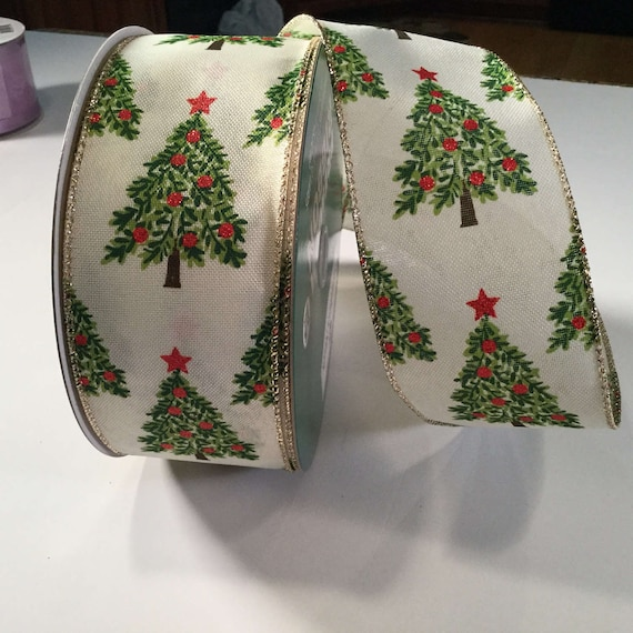 Christmas Tree With Red Ribbon: Christmas Tree Ribbon 5 Yd Gold Edge Wired Ribbon For