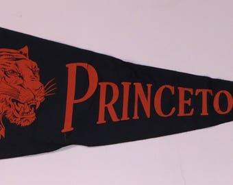Circa 1940's Princeton University Pennant with great Tiger Mascot
