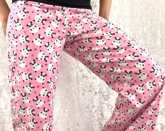 Pink Panda - 100% Cotton Flannel - High Waistband in Bamboo- Party Pajamas by So-Fine