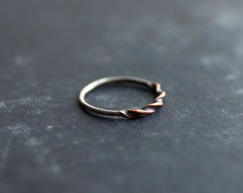 Twisted Copper and Sterling Stacker Ring - ONE RING - Made to Order - Antique Finish